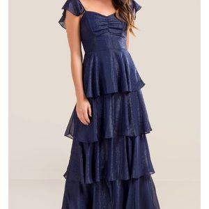 **NWT** Francesca's Skylar Shine Ruffle Gown